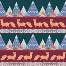 Decorative Seamless Pattern In Folk Style  Fox Colorful   Sticker