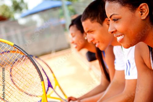 Fotobehang Tennis Group of tennis players