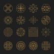 Nature monogram logo, Minimal geometric badges for spa hotel and luxury brand identity