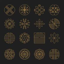 Nature Monogram Logo Minimal Geometric Badges For Spa Hotel And Luxury Brand Identity Sticker