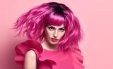 Portrait Beautiful Girl. Pink Fashion Hairstyle - 205338120