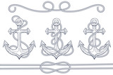 Anchors with rope. Hand drawn sketch