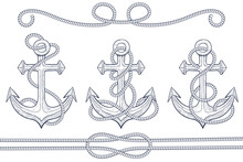 Anchors  Rope Hand Drawn Sketch Sticker