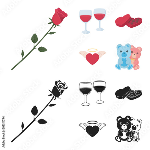 Glasses with wine, chocolate hearts, bears, valentine.Romantik set collection icons in cartoon,black style vector symbol stock illustration web.