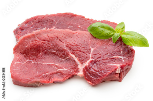 Plexiglas Steakhouse Fresh raw beef steak isolated on white.