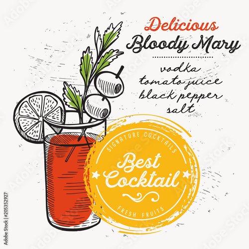 Fototapeta Cocktail bloody mary for bar menu. Vector drink flyer for restaurant and cafe. Design poster with vintage hand-drawn illustrations.