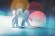 Leinwandbild Motiv Circle of paper people on abstract background