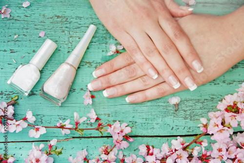 Plexiglas Manicure Stylish and beautiful French manicure