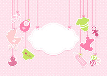 Card Baby Girl Symbols Hanging Cloud Pink Sticker