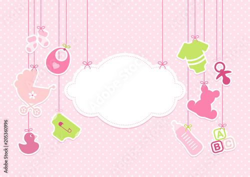 Card Baby Girl Symbols Hanging Cloud Pink