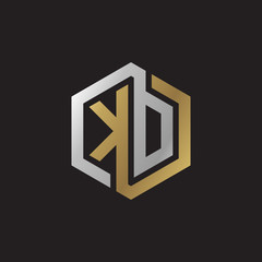 Initial letter KD, KO, looping line, hexagon shape logo, silver gold color on black background