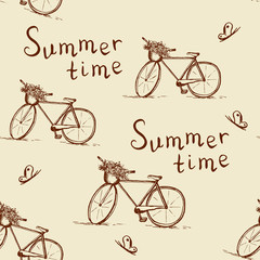 Seamless Pattern with Vintage Bicycle