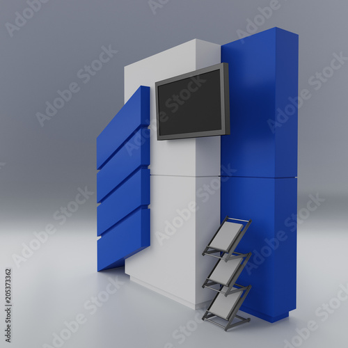 Empty Stand, Kiosk Or Booth Ready For Customization