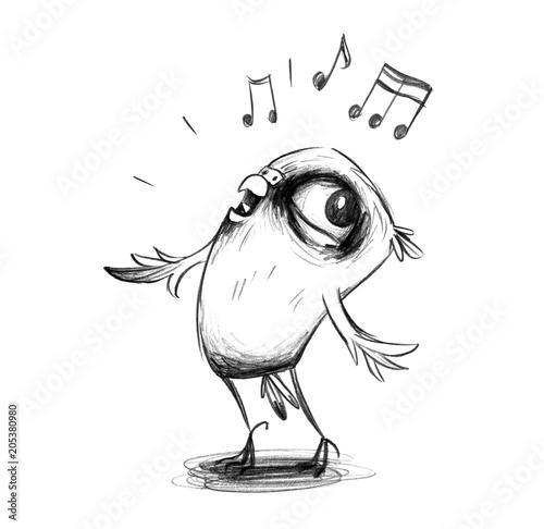 Fototapeta Niedlicher Wellensittich singt enthusiastisch ein Lied