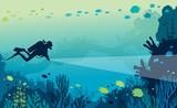 Scuba diver, coral reef, sea. - 205381752