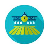 Crop duster airplane spraying a farm field icon