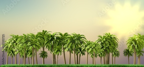 Palm trees, beautiful tropical background, vintage filter, 3d rendering