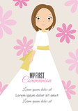 my first communion girl. Girl with beautiful dress and floral background