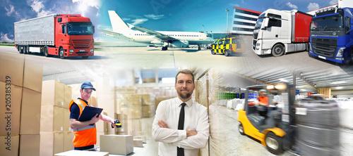 Poster Transport und Warenhandel - Verkehr und Gewerbe Logistik - Arbeiter und Firmen