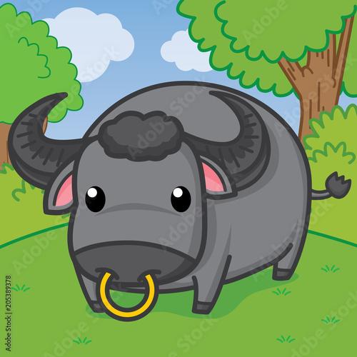 buffalo, cute vector, cute cartoon