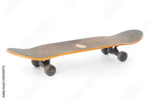 Plexiglas Skateboard Used skateboard close up isolated on white background