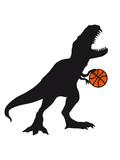 basketball spielen sport team silhouette schwarz umriss t-rex fleischfresser böse brüllen tyranosaurus rex gefährlich fressen dino dinosaurier saurier clipart comic cartoon design