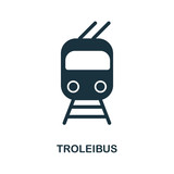 Trolleyibus icon in vector. Flat style icon design. Vector illustration of trolleybus icon. Pictogram isolated on white.
