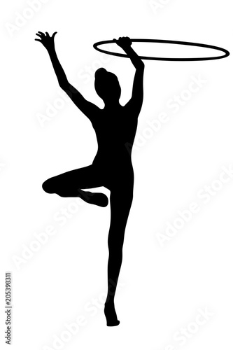 Fototapeta exercise with hoop rhythmic gymnastics back young woman