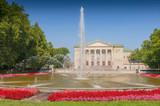 Poznan Stanislaw Moniuszko Great Theatre (Opera) building with fountain and garden, Poland. - 205400361