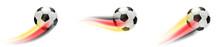 Fußball Mit Deutschland Flagge Schweif  Set Sticker