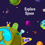 Vector background with cartoon space planets and ships - 205403558