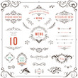 Ornate design elements set. Table numbers, wedding and restaurant menu templates. - 205403941