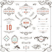 Ornate Design Elements Set Table Numbers Wedding And Restaurant Menu Templates Sticker