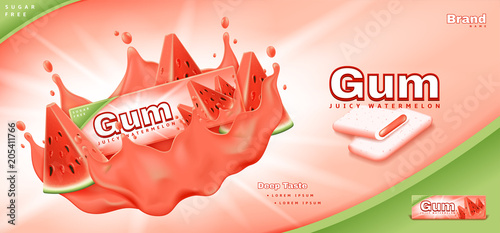 Bubble gum ads template. Commercial banner with juicy watermelon gum. Realistic vector illustration with 3d objects. - 205411766