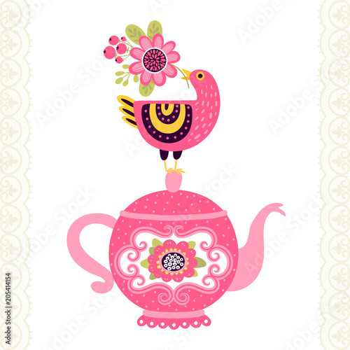 Greeting Card Or Invitation With Bird And Teapot Can Be Used For Scrapbook Menu