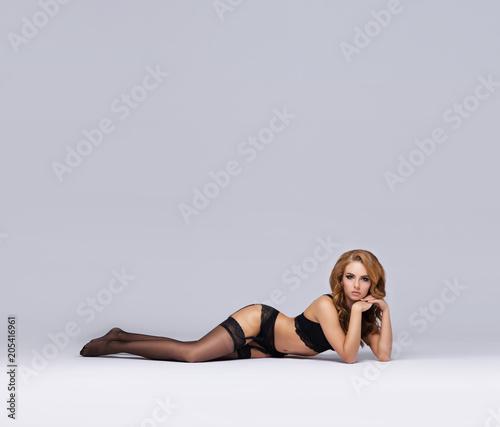 Sexy woman in beautiful lingerie. Girl posing in underwear.