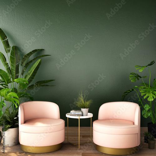 Wewnętrzny projekt dla żywego terenu lub przyjęcia z karłem, rośliną, gabinetem na drewnianej podłoga i głębokim - zieloną background / 3d ilustracją, 3d rendering