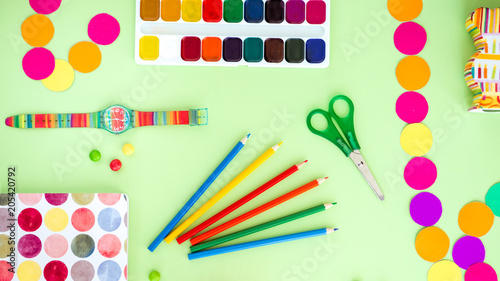 Fototapeta Creativity concept set of color objects