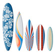 Surfboards Set with Flat Design