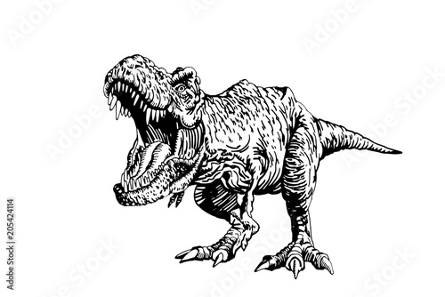 Fototapeta Graphical dinosaur isolated on white background,vector tyrannosaurus,tattoo