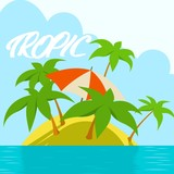tropical island in the ocean - 205428126