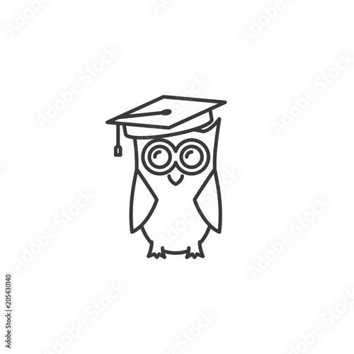 Fotobehang Uilen cartoon line graduated owl icon on white background