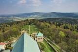 Widok na Góry Świętokrzyskie z wieży widokowej w klasztorze na Św. Krzyżu