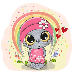 Cute Cartoon Cat with rainbow