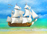 Painting style illustration of tall ship near beach