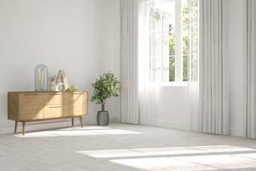 White empty room with summer landscape in window. Scandinavian interior design. 3D illustration © AntonSh