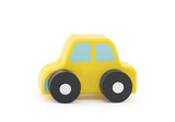 Small wooden toy car on white background with clipping path
