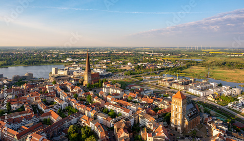 aerial view of the city rostock - baltic sea