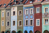 Colorful houses on Poznan Old Market Square, Poland. Closeup view