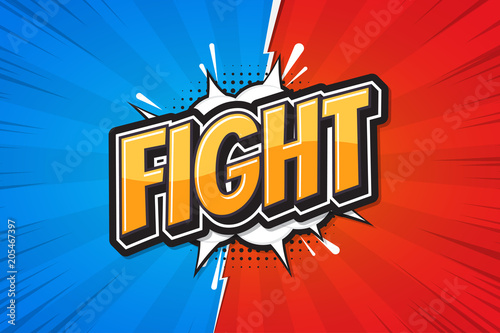 Fight background poster comic speech bubble. Vector illustration